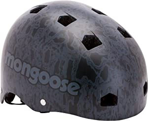 Mongoose BMX Bike Helmet, Multi Sport Kids Helmet, Grey/Black, Youth