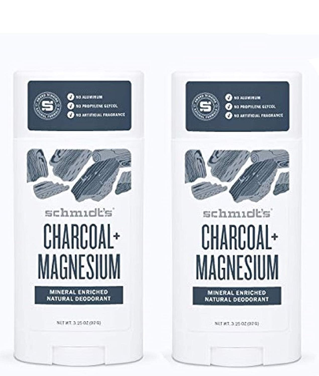 Schmidt's Deodorant Stick Charcoal + Magnesium 3.25 oz (Pack of 2) - Free of Aluminum, Vegan, Natural and Cruelty-Free