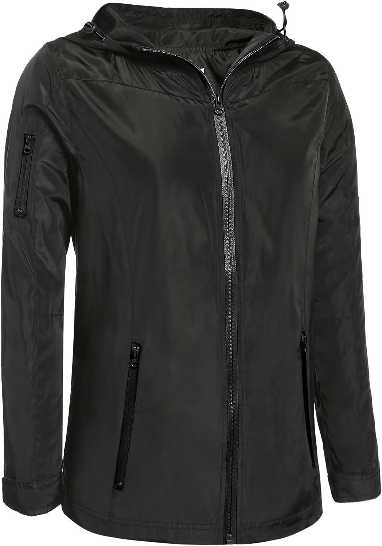 Meaneor Women Lightweight Windbreaker Fishtail Waterproof Hooded Raincoat Jacket Army Green S