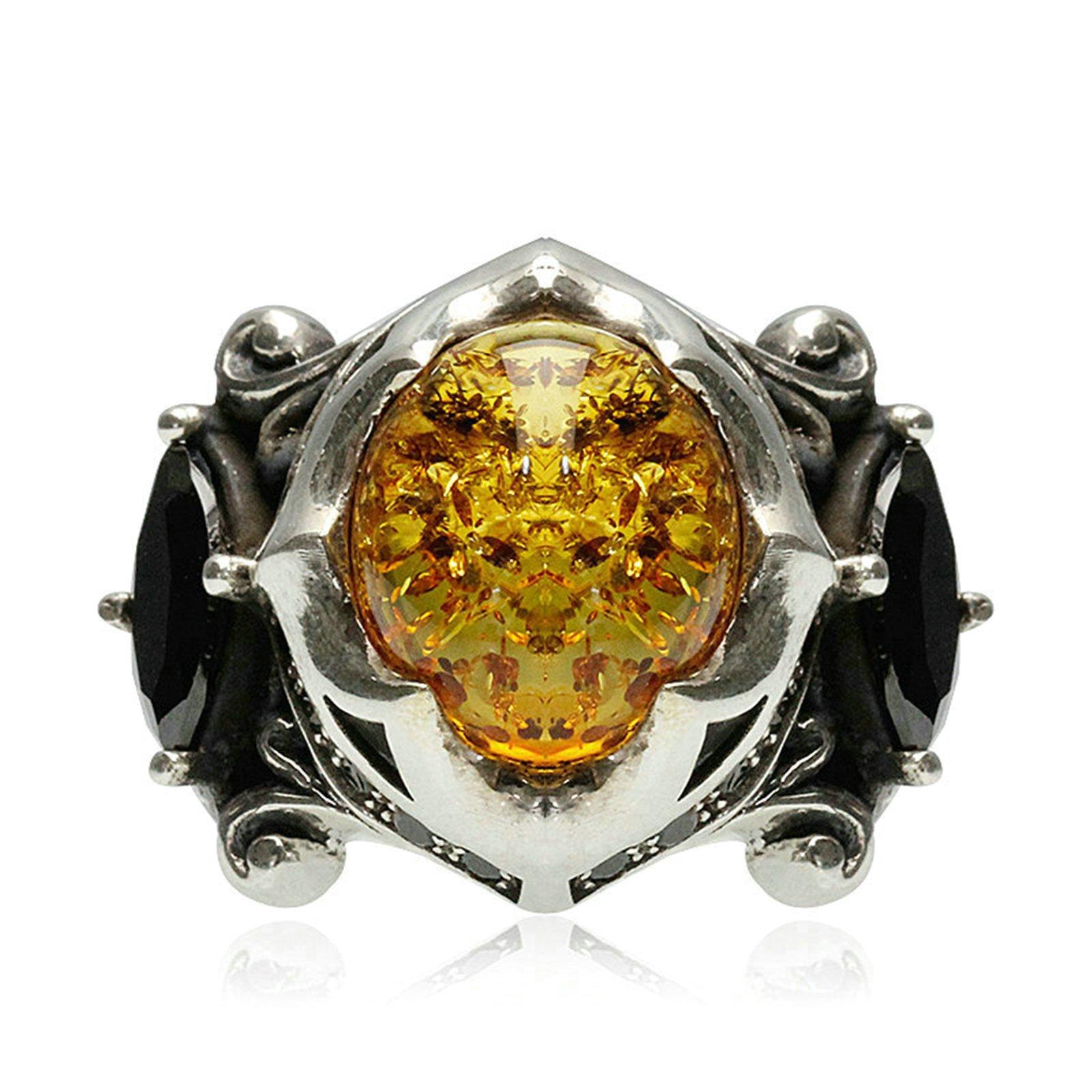 Adisaer Biker Rings Silver Ring for Men Black Cubic Zirconia Amber Ring Size 10 Vintage Punk Jewelry