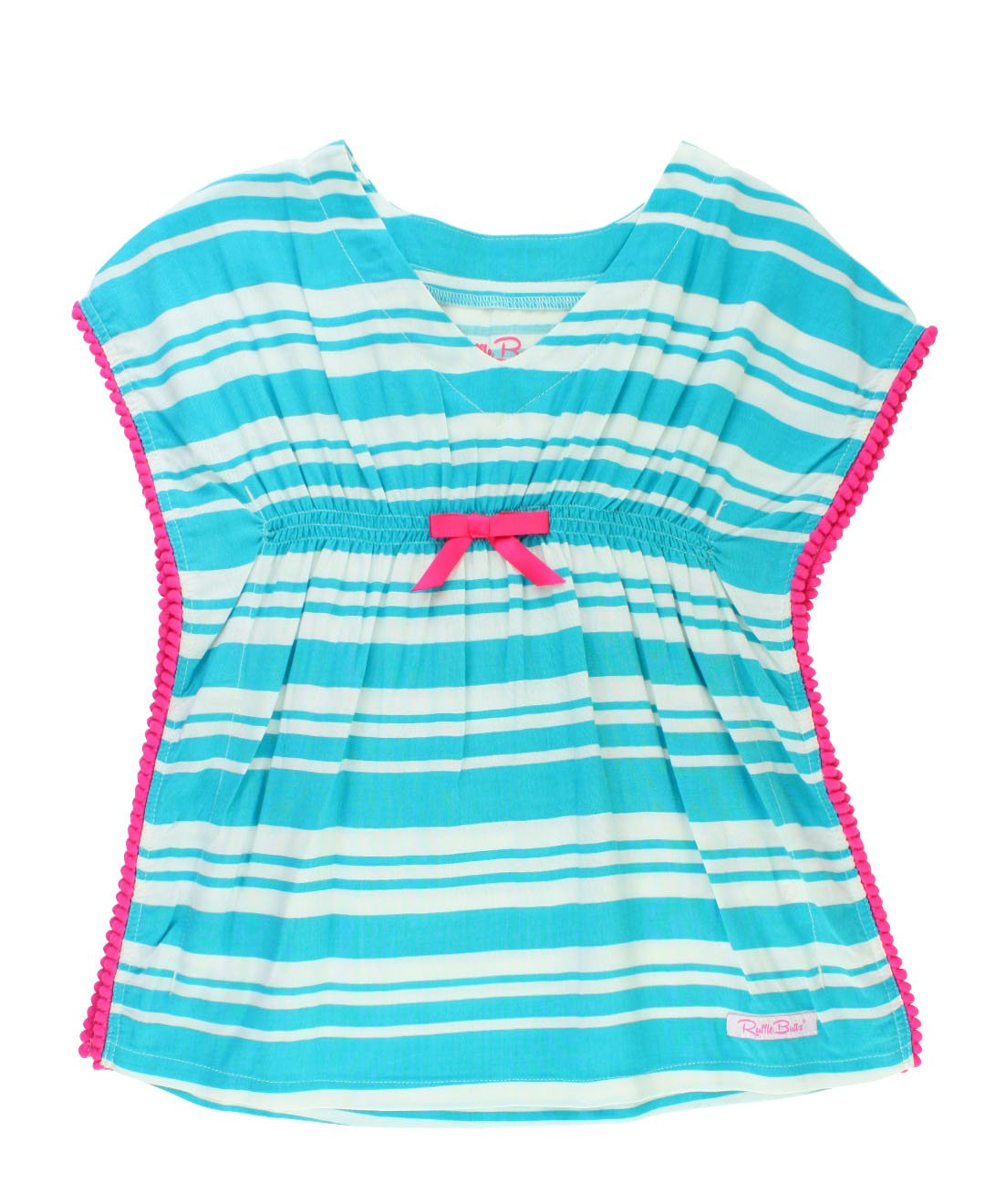 568bc1980a RuffleButts Infant/Toddler Girls Turquoise Stripe Kaftan Swimsuit Cover up  Tunic w/Pom Poms - Blue - 12-24m: Amazon.in: Baby