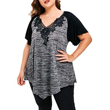 c33302fceb99 G Kshop Women Summer V Neck Tops Short Sleeve T-Shirt Irregular Hem Blouse Plus  Size