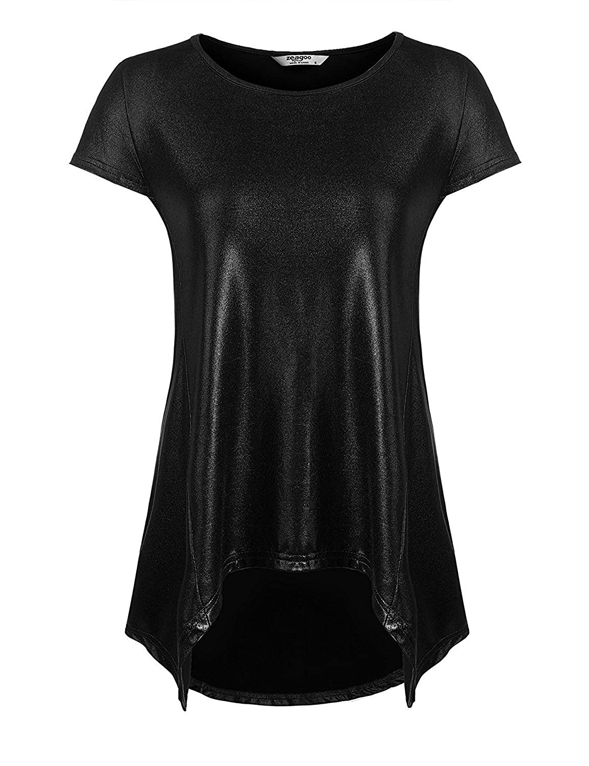 a01b1dd7443 Zeagoo Women's Short Sleeve Flare Tunic Casual Summer Loose Blouse Shirt,  Black, Medium at Amazon Women's Clothing store:
