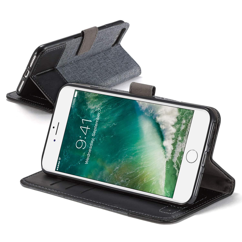 Sweau Compatible avec iPhone 6S Plus Coque,Etui iPhone 6 Plus Housse en Cuir de Protection Retro Denim PU Cuir Magn/étique Flip Case Prot/éger pour iPhone 6//6S Plus Housse Etui Cuir Portefeuille Case