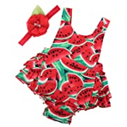 PrinceSasa Baby Girl's Clothes Watermelon Floral Ruffles Summer Cake Smash Rompers and Headband for Newborn Gifts,A20,0-6 Months(Size S)