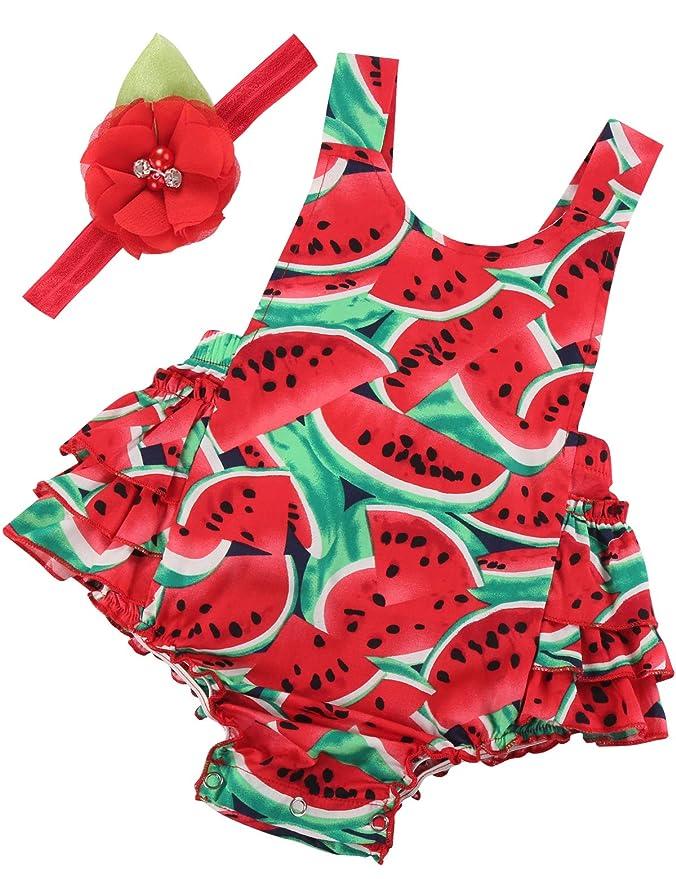 2bb334cfe67b Amazon.com  PrinceSasa Baby Girl s Floral Print Ruffles Romper Summer  Clothes with Headband  Clothing