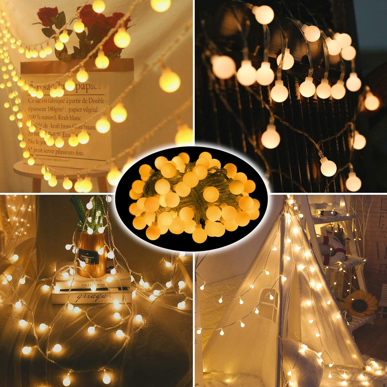 Globe LED String Lights 100 Crystal Plush Fur Ball Twinkle Lights for Bedroom Home Room Wall Decor Christmas Tree Fairy Hanging Lights for Garden Wedding Birthday Party and Camping (Smooth Ball)