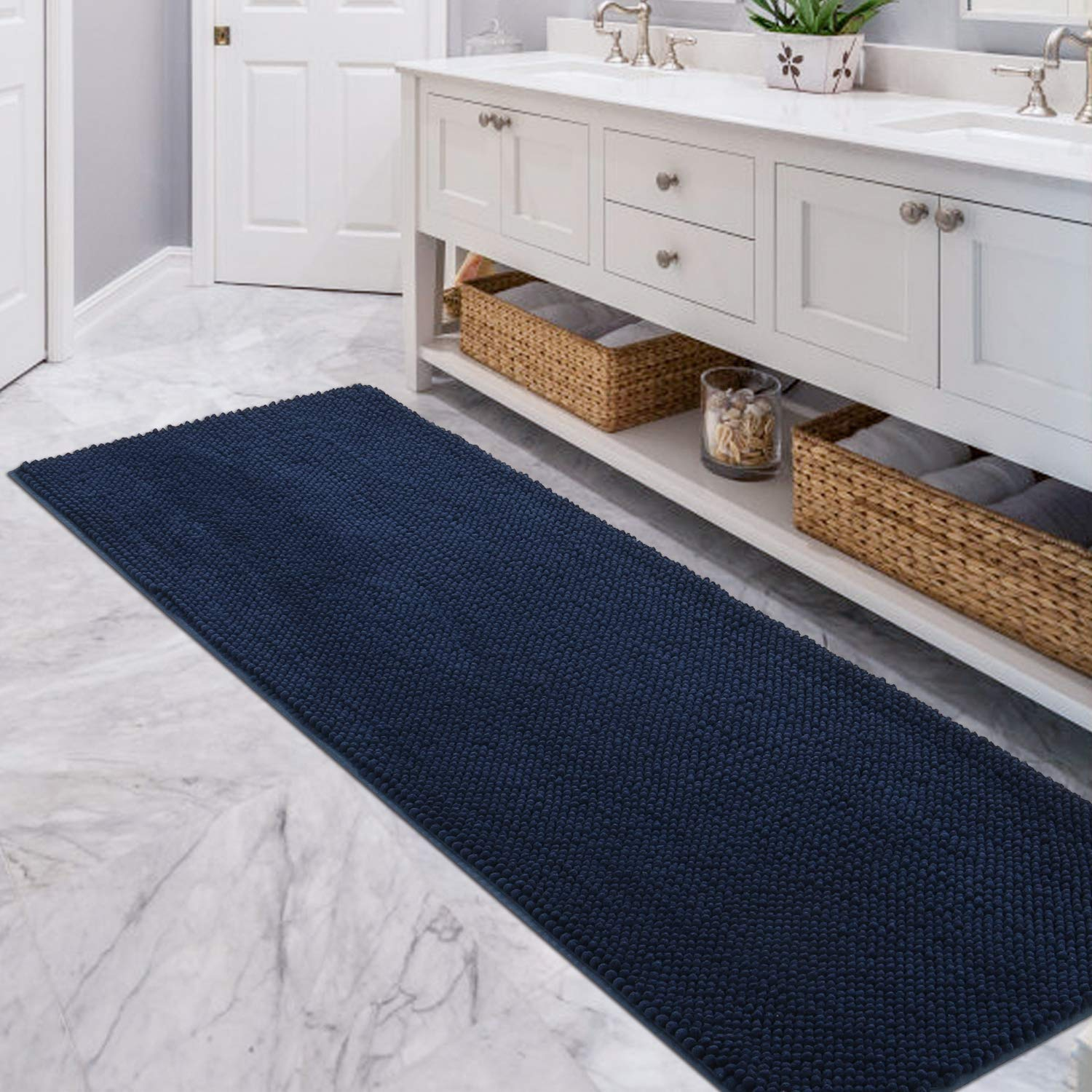 22 x 511 Brown Lifewit Bath Runner Rug Chenille Area Mat Rugs for Bathroom Kitchen Entryway Bedroom Machine Washable Water Absorbent with Non-Slip Rubber Collection Shag Rug