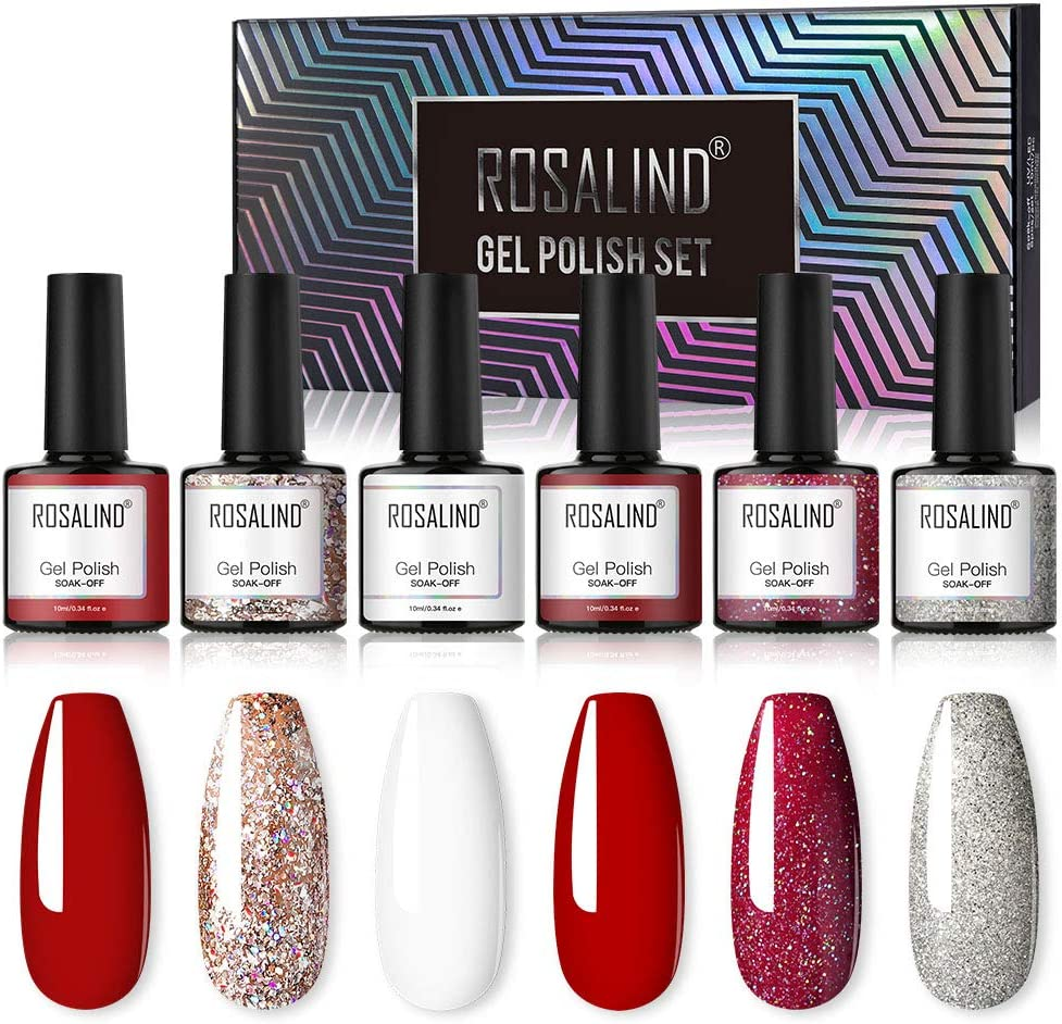 ROSALIND Esmalte de Uñas Semipermanente Uñas de Gel UV LED Kit de Manicura 6pcs Pintauñas Semipermanente Roja y Brillo de regalo 10ml: Amazon.es: Belleza