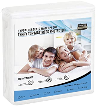 amazon waterproof mattress pad Amazon.com: Utopia Bedding Premium Hypoallergenic Waterproof  amazon waterproof mattress pad