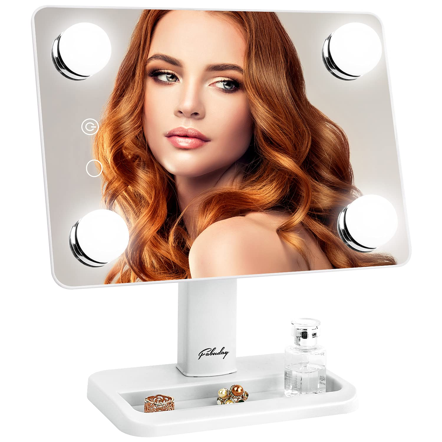 Lighted Makeup Mirror with 4 LED Lights – Fabuday 2 Color Lighting
