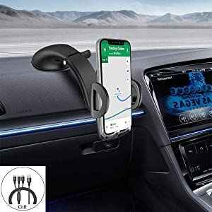 MAOBLOG Car Phone Mount Dashboard Windshield Long Arm Strong Suction 360° Car Holder Cradle Clamp for iPhone 11/11Pro Max/XR/X/8 /7Plus,Samsung Galaxy Note 10 Plus/10 9 8(Give a Data Line).