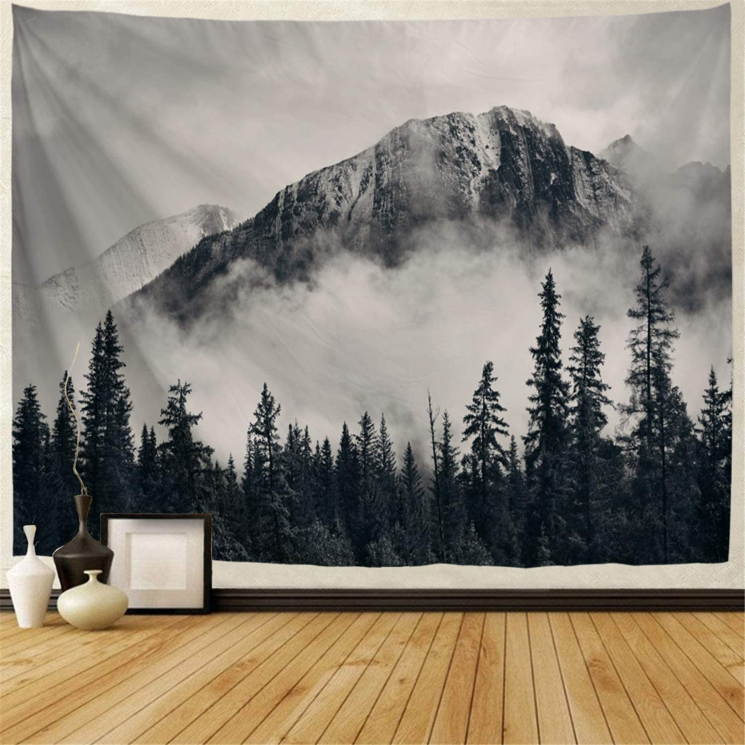 BJHAP Nature Tapestry Black and White Forest on Fog Mountains Tapestry Wall Hanging Mysterious Tree Tapestry Landscape Scenery Tapestry Art Home Decor for or Living Room Bedroom Dorm 60 X 51 Inches