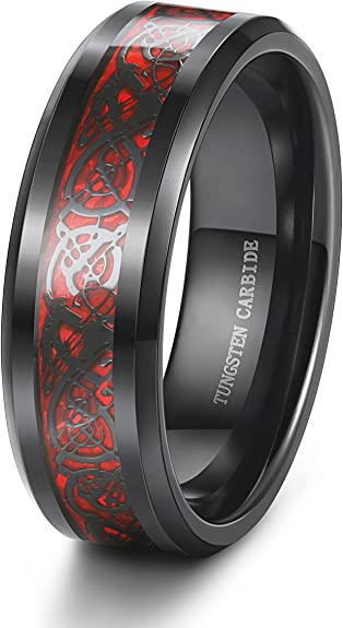 His Black Tungsten Celtic Dragon Her 925 Sterling Silver Wedding Ring Mens Women