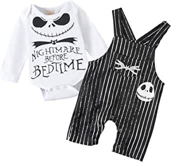 Baby Boy Girl Clothes 2PCs Outfit Set Nightmare Before Bedtime Skull Halloween Clothing Set
