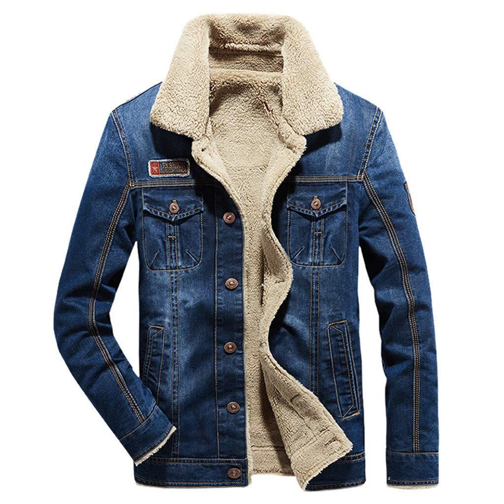 Mens Denim Jacket, Men's Retro Denim Fleece Jacket Winter Button Down Fur Collar Jeans Coat Outwear Top Blouse Winter by F_Gotal Mens blazer