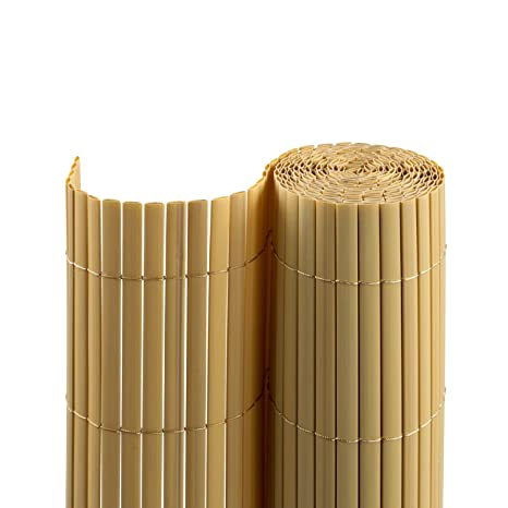 Jarolift PVC Sichtschutzmatte/Sichtschutzzaun für Garten, Balkon und Terrasse, 80 x 300 cm, bambus
