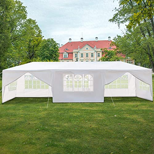 Goujxcy 10×30 ft Canopy Tent, Upgraded Spiral Tube Outdoor Wedding Party Tent Camping Shelter Gazebo Canopy with 8 Removable Sidewalls,White
