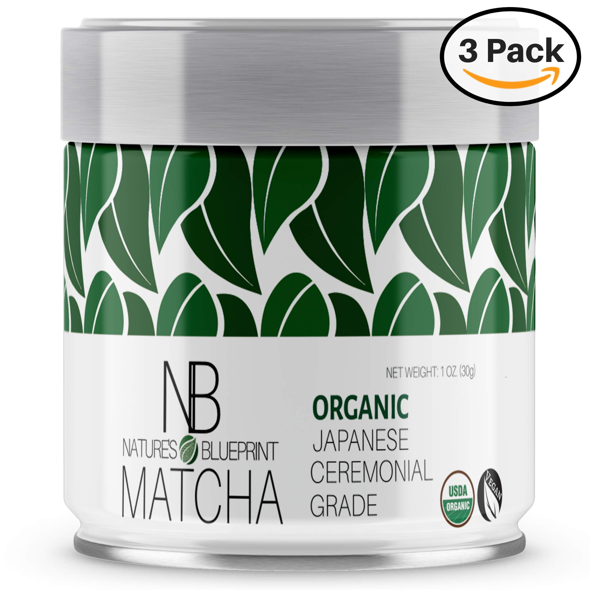 Matcha Green Tea Powder-3 Pk-Organic Japanese Ceremonial Grade Straight from Uji Kyoto, Premium Quality-3 oz BUNDLE contains Powerful Antioxidant Energy for NON-GMO Health. … by Nature's Blueprint (Image #1)