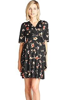 e6b85fd6f0a Hello MIZ Women s High-Low Surplice Wrap Maternity Dress with Waist ...
