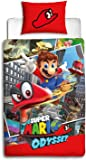 Nintendo Super Mario Odyssey Single Duvet Cover | Reversible Two Sided Mario Bedding Duvet Cover With Matching Pillow Case