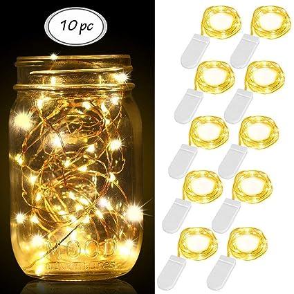 6x 20 LED Kupferdraht Lichterkette Batterie Beleuchtung Weihnachten Warmweiß
