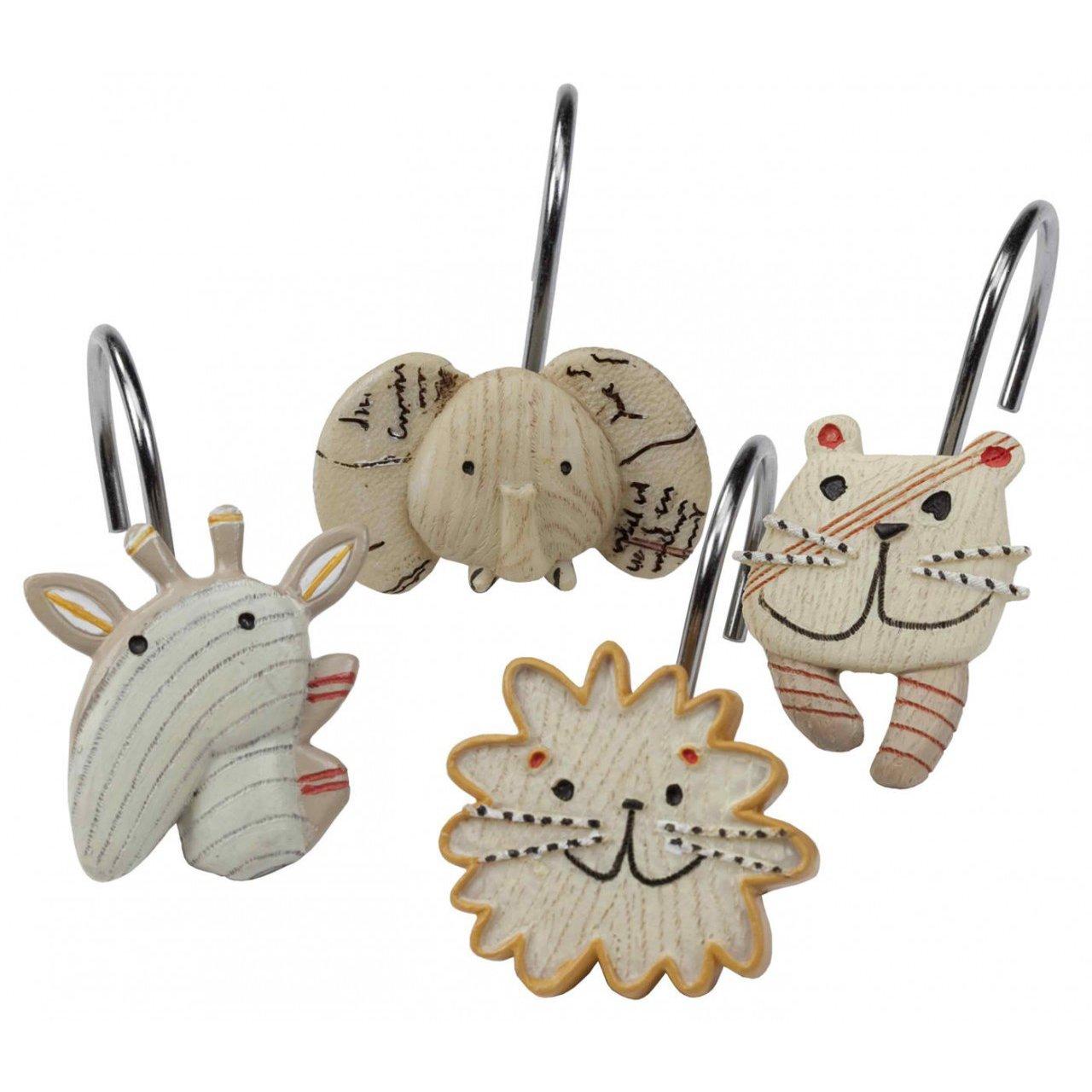 DS BATH Animal Crackers Shower Curtain Hooks, Hooks for Bathroom Curtains,Decorative Bath Curtain Hooks,set of 12