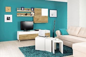Wohnzimmer Komplett   Set B Cambados, 5 Teilig, Farbe: Eiche Braun/