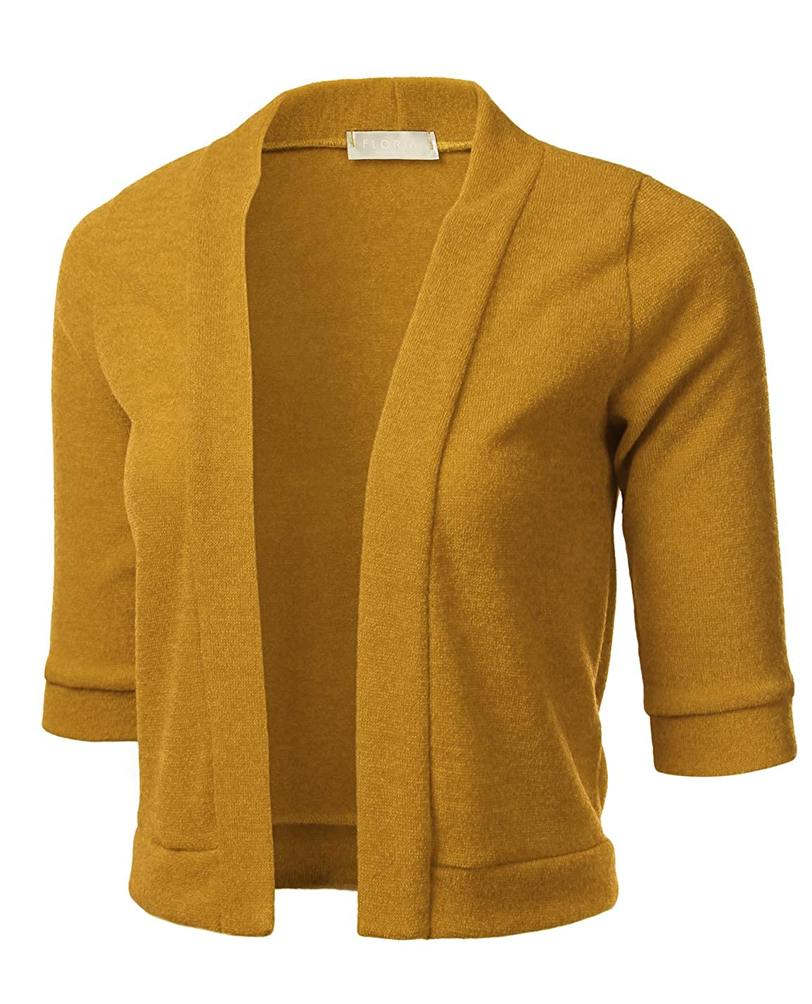 fffeab34509c Classic 3 4 Sleeve Open Front Cropped Cardigan Made in USA Features 3 4  Sleeve