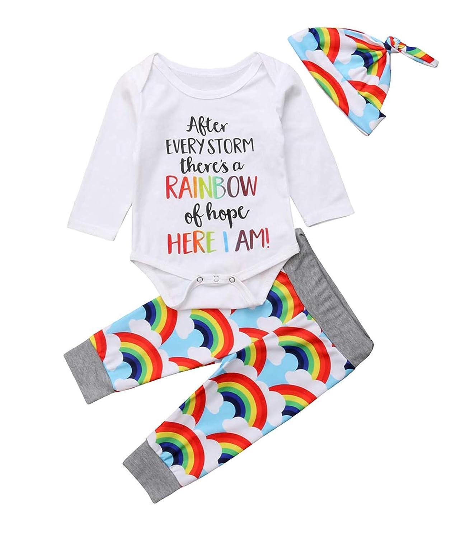 3af446f4c Amazon.com: Rainbow Baby Outfit Boy Newborn Romper Boy Letter Print Long  Sleeve Jumpsuit Cloud Rainbow Pants Sets+Hat: Clothing