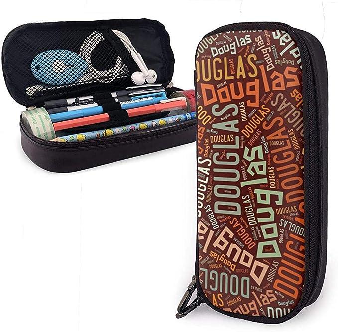 Douglas - Apellido americano Estuche de cuero de alta capacidad Estuche de lápices Estuche de papelería Organizador Titular Maquillaje escolar Bolso de cosméticos portátil: Amazon.es: Oficina y papelería