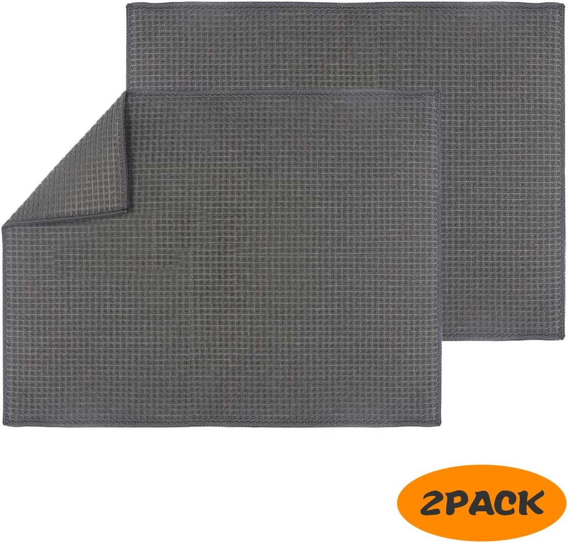 Amazon Com 2 Packs Microfiber Dish Drying Mat For Kitchen Counter Top Dry Pad For Dishes Flatware Dinnerware Glassware Drinkware Serveware Plate Tabletop Accessories Machine Wash Gray 20 X 15 Kitchen Dining