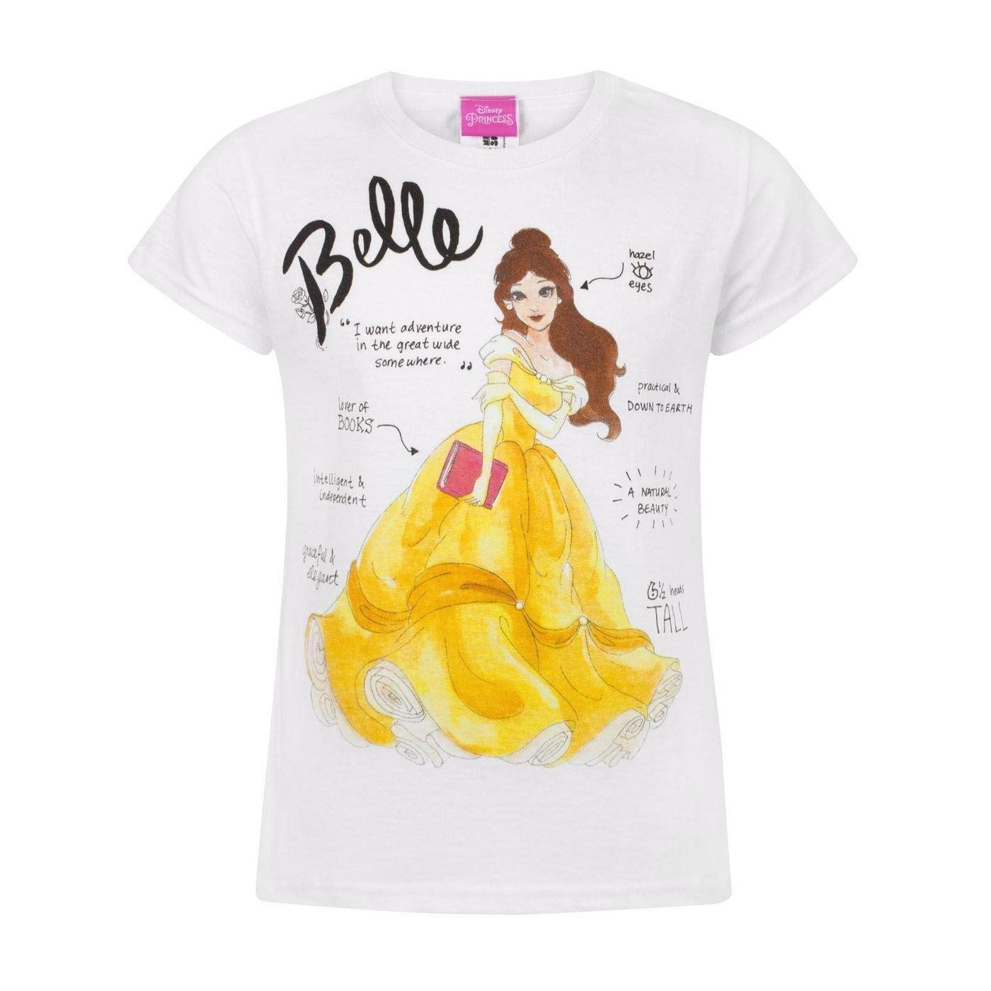 3495ed2e8 Amazon.com: Disney Childrens Girls Beauty and The Beast Belle T-Shirt  (12-13 Years) (White): Clothing