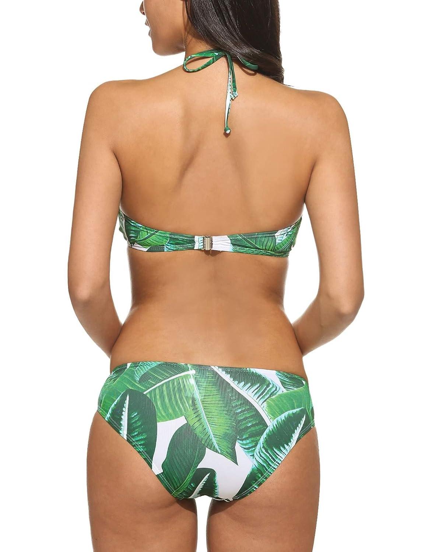 2ddabdea5e2 Imposes Leaf Printed Bikini Halter High Neck Bathing Suits 2 Piece Swimwear  S-XXL