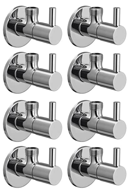 Snowbell Angle Cock Flora Brass Chrome Plated - Set Of 8