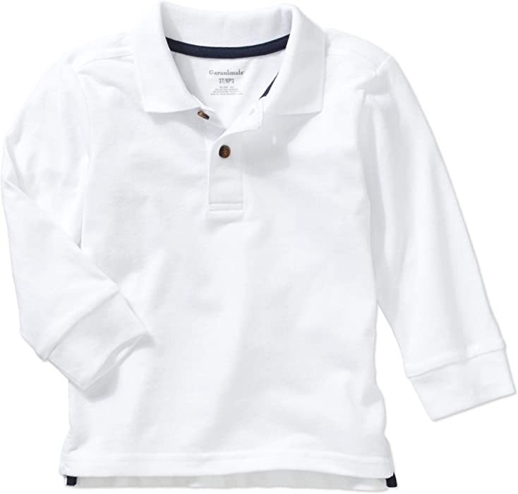 d90872763 Garanimals Toddler Boys' Long Sleeve Sueded Jersey Polo Shirt (White, ...