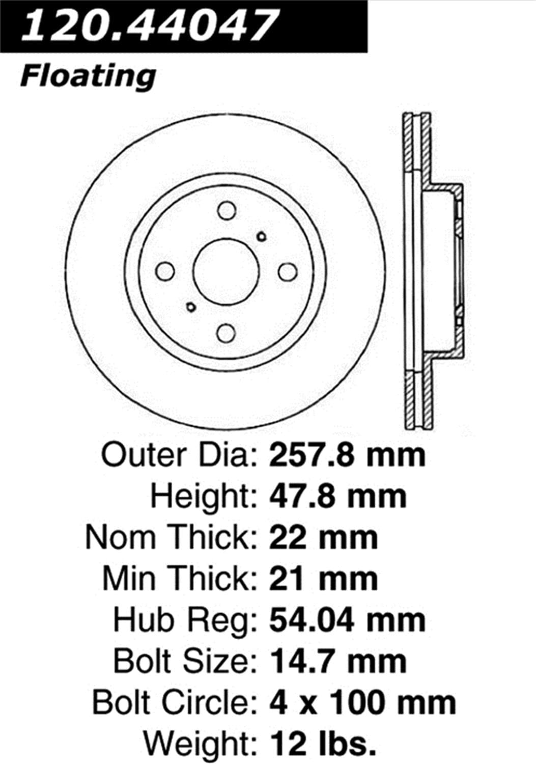 Disc Brake Rotor-High Performance Slotted Centric 126.44047SR
