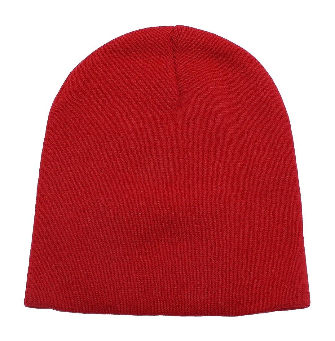 Top Level Short Plain Beanie - Winter Unisex Plain Knit Hat Black