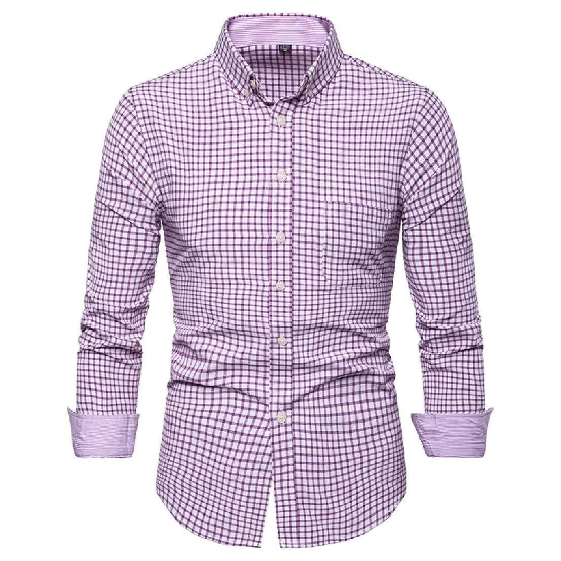 Nanquan Men Button Down Long Sleeve Plaid Print Slim Fit Big /& Tall Shirts with Pocket