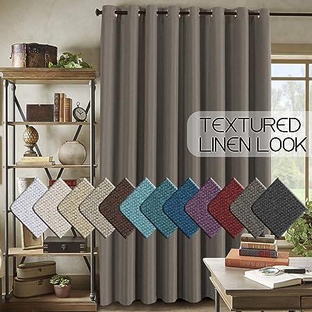 H.VERSAILTEX Cortina de lino para oscurecer la habitación, para puerta corredera, extra ancha, con textura de arpillera, para sala de estar o patio: Amazon.es: Hogar
