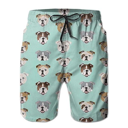3257c831ab3 Amazon.com: Feimao English Bulldog Faces Men's Beach Pants Summer Casual Swim  Trunks with Pockets: Clothing