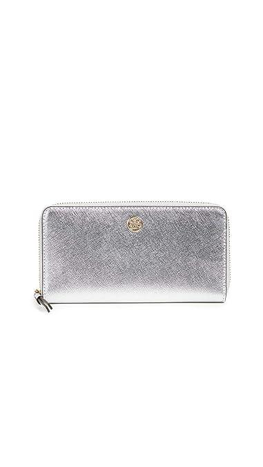 2000c21bbe8a3e Tory Burch Women's Robinson Metallic Zip Continental Wallet, Silver, One  Size
