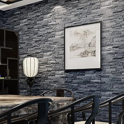 HaokHome 8041 Modern Faux Stone Textured Wallpaper Roll Dark Gray 3D Brick Room Kitchen Decoration 208quot