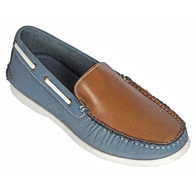 bd11d8b55e44 tZaro Genuine Leather Boat Shoe - Blue Akagi  Buy Online at Low Prices in  India - Amazon.in