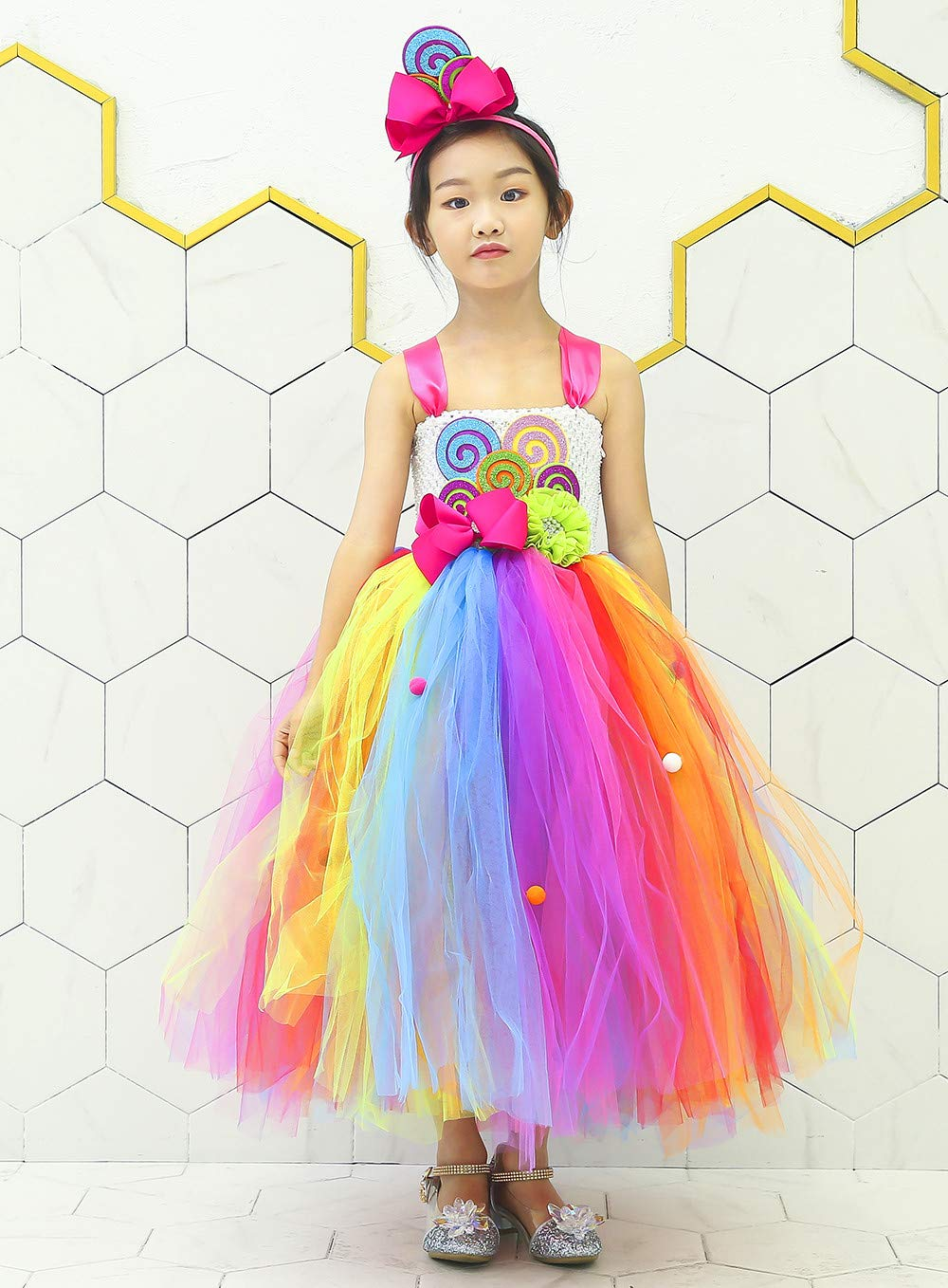 Tutu Dreams Rainbow Lollipop Candy Tutu Dress Kids Girls Birthday Party Ringmaster Circus Clown Costumes Halloween (Rainbow, 8) by Tutu Dreams (Image #4)