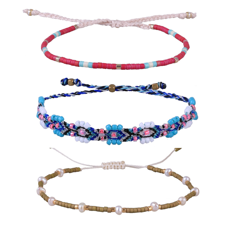 Kelitch Jewelry 3 Pcs Bohemian Rope Bracelet Seed Bead Charm For Best Friend, Handmade Jewelry CZH4-170002A