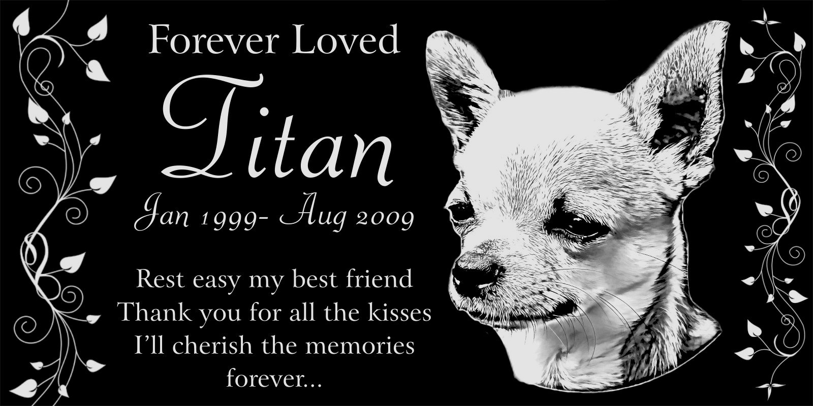 Personalized Chihuahua Dog Pet Memorial 12''x6'' Engraved Black Granite Grave Marker Head Stone Plaque TIT1