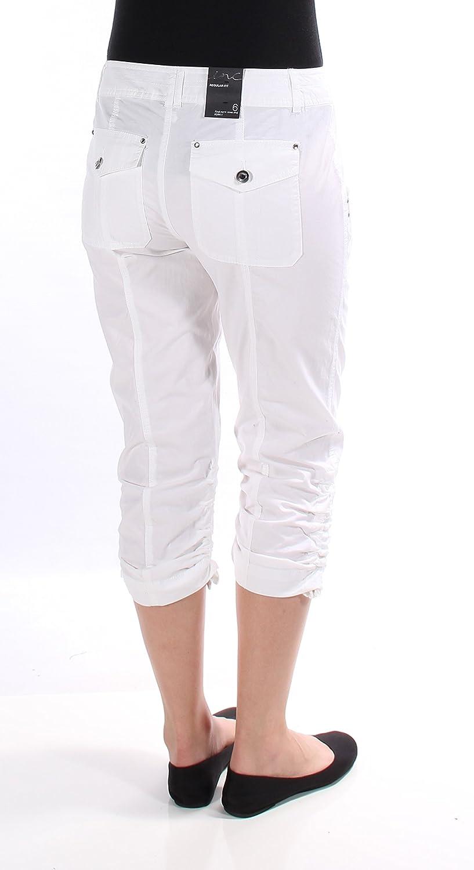 INC Womens Regular Fit Rhinestone Cargo Pants White 6