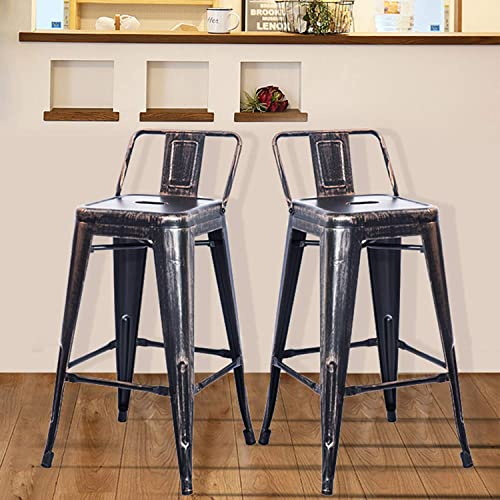 Barstools Low Back High Feet Indoor Outdoor 26 Inch Height Metal Bar Stools Set of 2 Golden Black