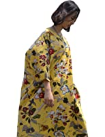 Yesno TA6 Women Long Maxi 'Flower Bird' Dress Caftan 100% Cotton Casual Loose Fit Oversize 3/4 Sleeve